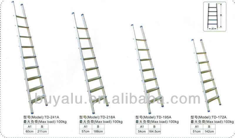 Straight aluminum ladder use in Garden and roof