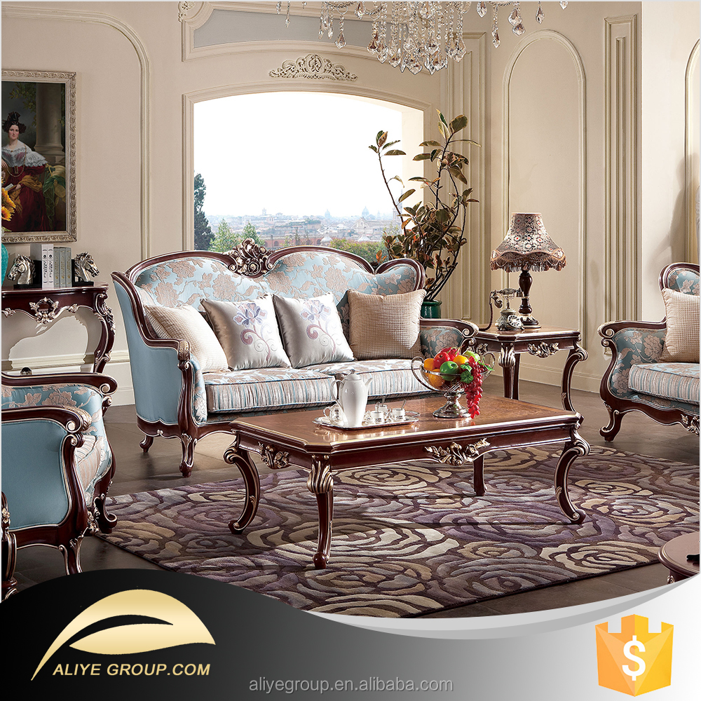Classic french living room furniture sofa set with a for Classic furniture products vadodara
