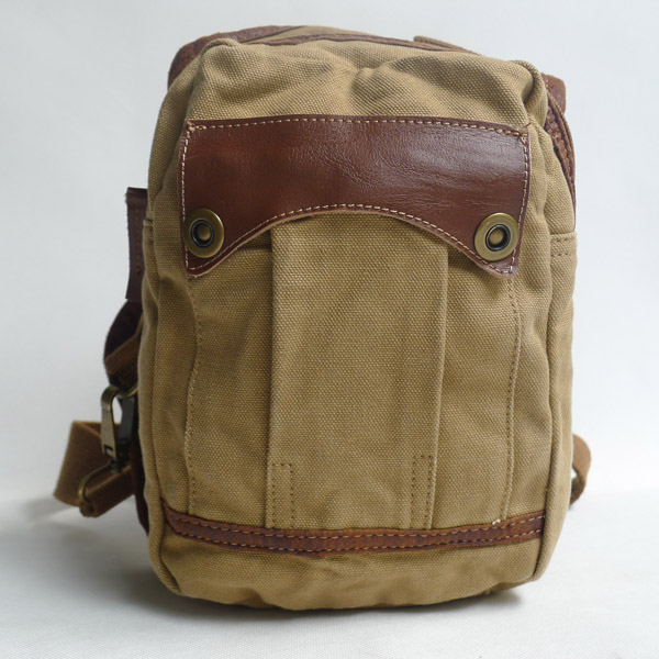 Durable unisex 16oz Canvas and first layer genuine leather bag 100 cotton canvas bags wholesale