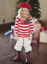 New Arrival Kids Clothing Sets Fashion Baby Children Red Stripe Shirts And Ruffle Capris Outfits Girls Clothing