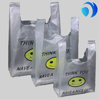 Biodegradable grocery foldable Shopping Custom Printed Plastic T-shirt Bags
