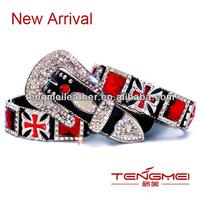 Sparkling Ruby Red Maltese Cross & Square Crystal Women Black Elastic Belt With Rhinestone