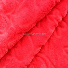 Knitting embosed red pv plush fabric