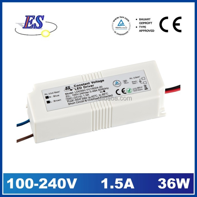 35W 24Vdc 1500mA Constant Voltage LED Driver