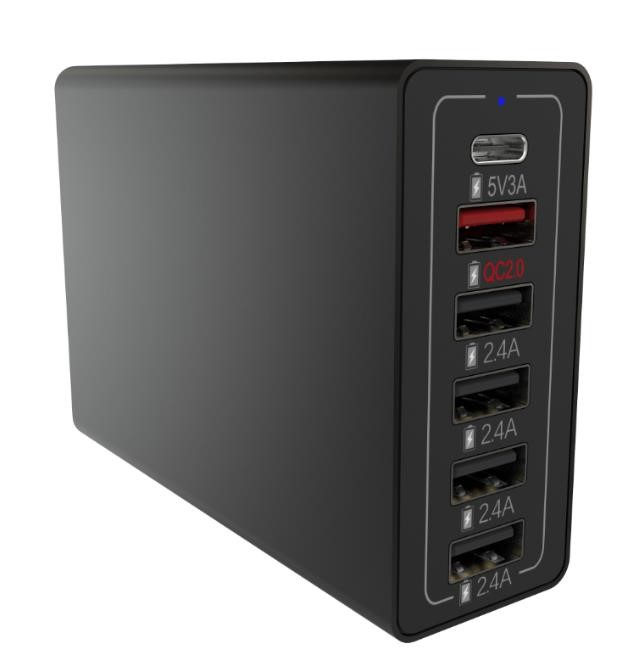 60 Watt 6 Port sync type C USB Charging Hub, Smart Sense IC USB Wall Charger Station for cell phone and tablets