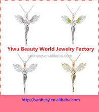 Flying angel girl with crystal wings pendant accessories for women necklace