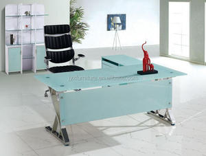 glass office table glass desk move table with corner and office boss chair sets melamine particle board with drawer bookshelf