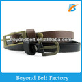 Black Color Slim PU Leather Belt with Metal Pin Buckle for Girls