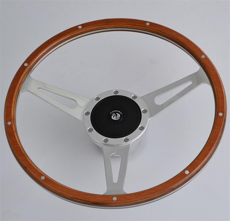 "China 16"" Classic Riveted wooden steering wheel with horn button Restoration Custom for Volkswagen VW Beetle"