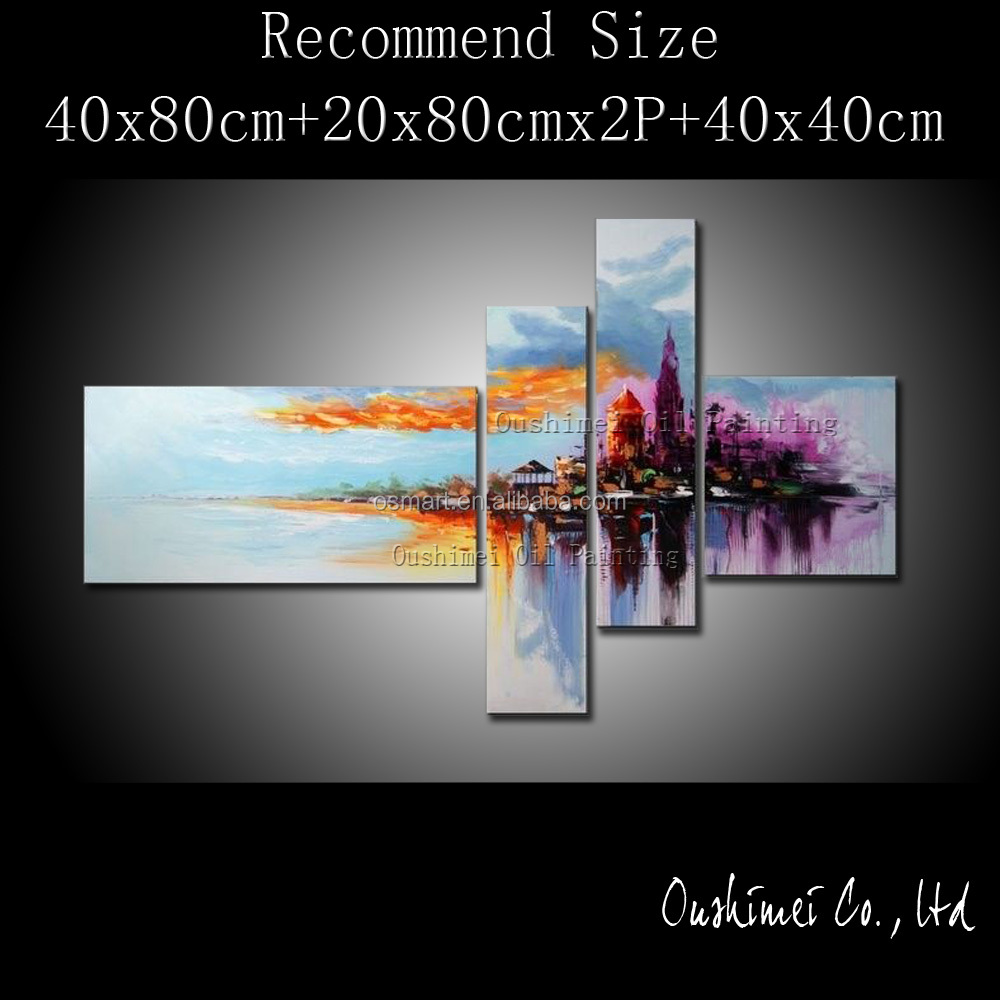 Free Shipping High Quality Abstract Town Landscape Oil Paints On Canvas Modern Cityscape Urban Oil Painting For Wall Decoration