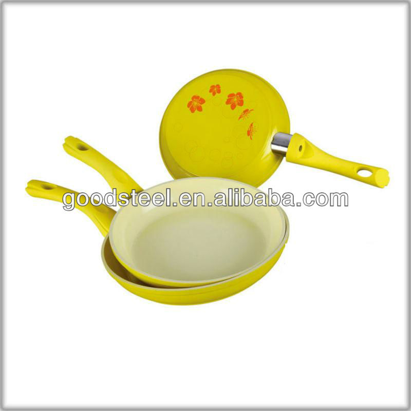 2013 Newest Colorful Ceramic Paint Forged die casting Aluminum Frying Pan with check pattern outside