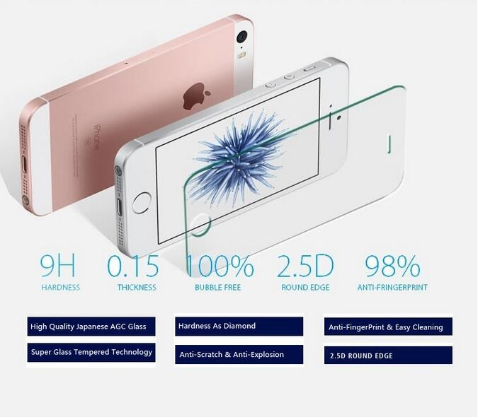 Mobile Phone Protective Screen Tempered Glass Supershieldz for iphone 7, glass cover for iphone5 screen protector/