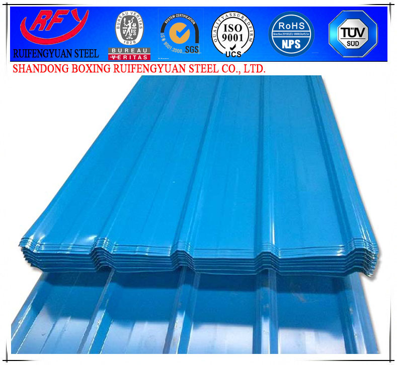 X0150-color roofing/metal roofing PPGI corrugated steel roofing tile from Shandong Boxing RUIFENGYUAN