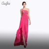Caijia One Shoulder Pink Chiffon Heavy Beading Long Evening Dresses