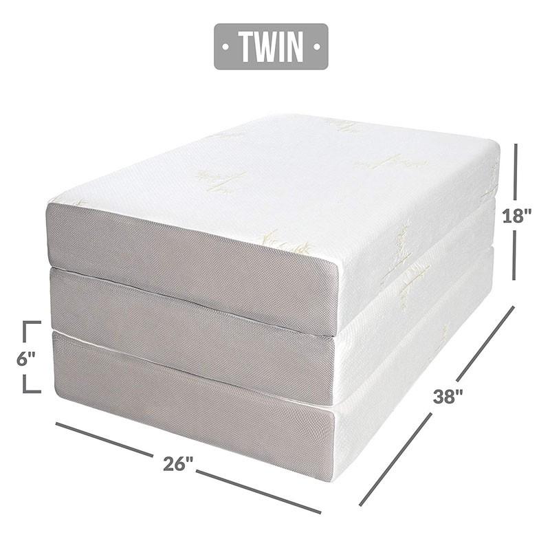 3 folding Memory Foam Mattress in a box queen size mattress bamboo cover aloe vera fabric - Jozy Mattress | Jozy.net