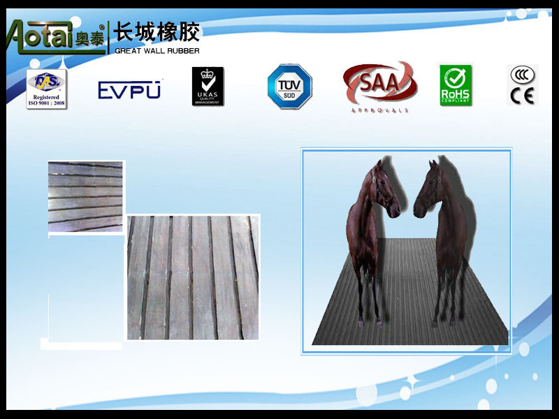 flat fluted Rubber Flooring Mat for horse / flat fluted ribbed rubber flooring for cow