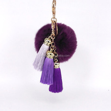 Fashion Tassel Pom Pom fur ball keychain Wholesale NSKY-0002