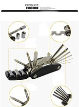 16 in 1 Multi Function Bike Tools with Patch Kit & Tire Levers Bicycle Fixie Cycling Repair Tools Cycle Maintenance Kits Set Wi