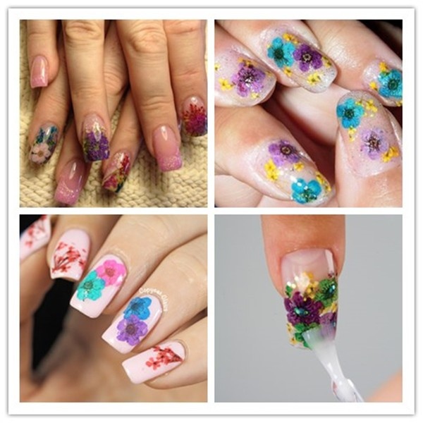 36PCS Colorful Dried Peach Blossom Nail Art Decorations Be Inspired by Nature. 100% Natural, Dried Flowers Make the Perfect Nail