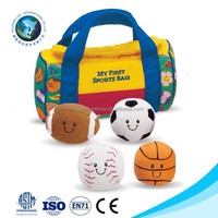 New kids toy My First sport bag playset Wholesale Promotional custom cute stuffed soft baby toy plush ball set