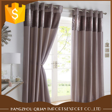 China Supplier Soft Velvet Top With Plain Fabirc Spilt Eyelet Blackout lined Ring Top Curtains