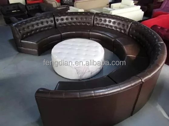 Restaurant leather booth sofa seating design in round shape