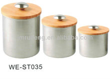 High quality 3pcs stainless steel canister set with wood lid WE-ST035