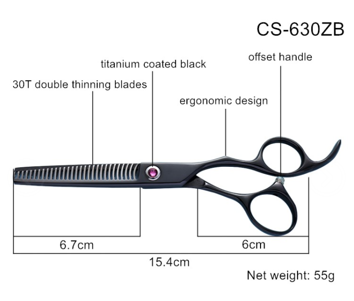 Ergonomic offset handle Design CS-630ZB 30T double Thinning blade Scissors