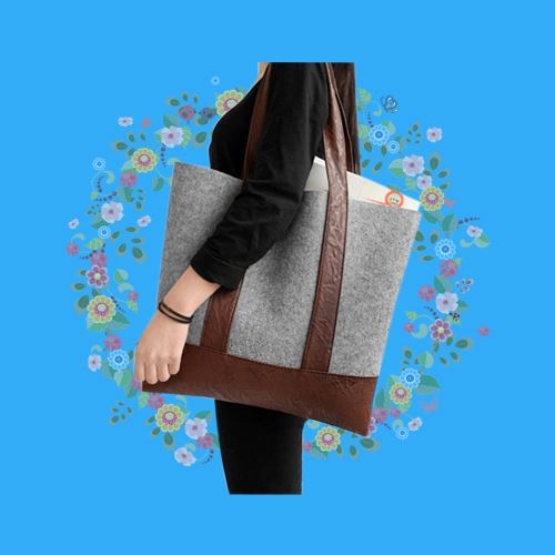 Feminine felt organtic cotton tote bag for vegetable