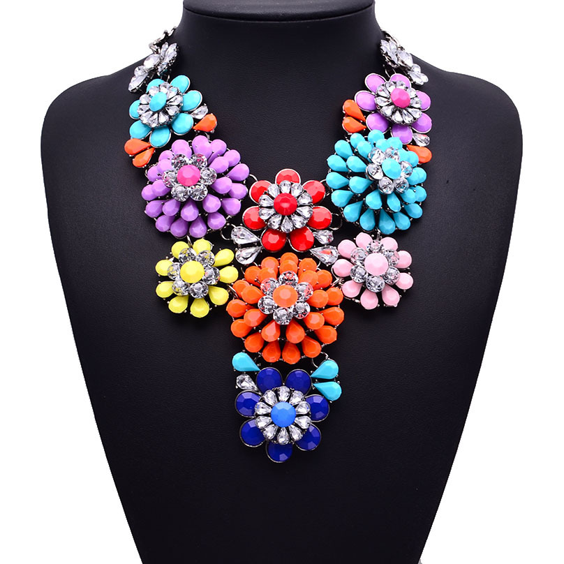 New Za Brand Resin Flower Crystal Necklaces & Pendants Costume Choker Colorful Flower Collar Statement Necklace B252