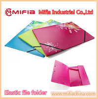 Plastic filing case a4 size Elastic Band PP document file folder with custom printing