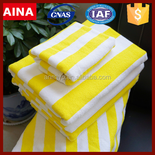 China factory 100% cotton white and yellow stripe design yarn-dyed bath towel