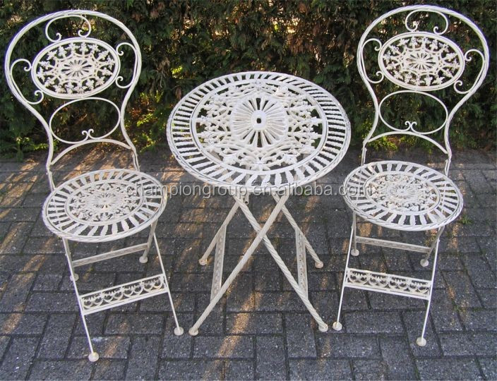 Antique White Cast Iron And Aluminum Bistro set Outdoor Furniture AR-6160 set