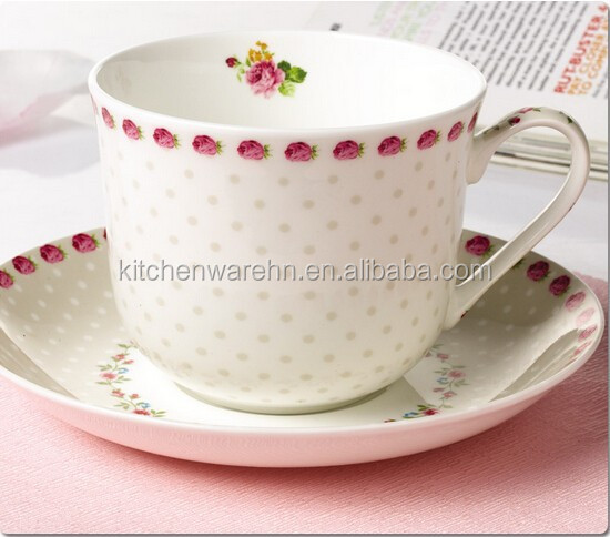 Big Fine Bone China Coffee Cup And Saucer Set