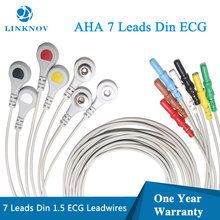 ECG EKG Leadwires 1.5 Din Style 7 Lead 10 Lead Holter ECG Cable with AHA Snap