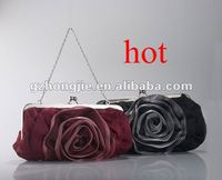 wholesale flower rose satin chain evening bag clip bag factory