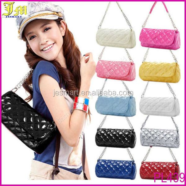 2014 New Fashion Women Single Strap Quilted Tote Shoulder Bag Ladies Glossy Handbag Wholesale