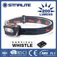 STARLITE Hot sale survival whistle 200LM 1 white+2 red led headlamp