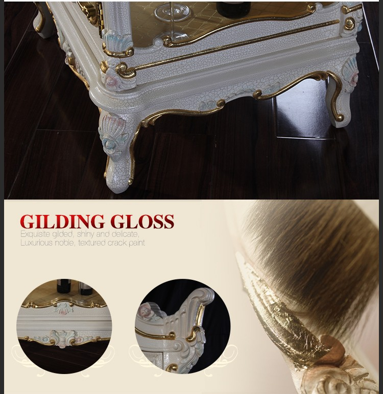 Luxury living room furniture Palace wood  cellaret – hand carved leaf gilding royalty cellaret