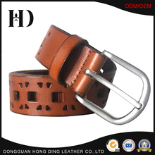 Supply Nickle Brush Buckle 35mm width Brown Genuine Leather Belts