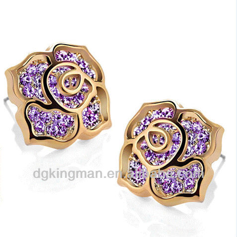 Kingman 2013 Fashion Crystal Woman's Earring Series-- ,Rose Flower Ear Studs For Cute Girl, KMKE-7