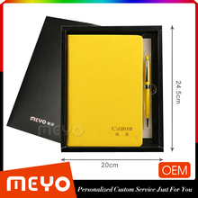 Colorful brand new notebook leather with ballpoint pen business gift set