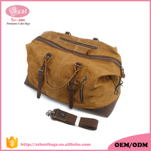 Waxed Leather Canvas Duffle Duffel Bags Men's Weekend Gym Bags