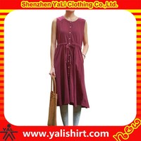 Fashion top quality multicolored plain sleeveless button front fitness women sexy linen dresses