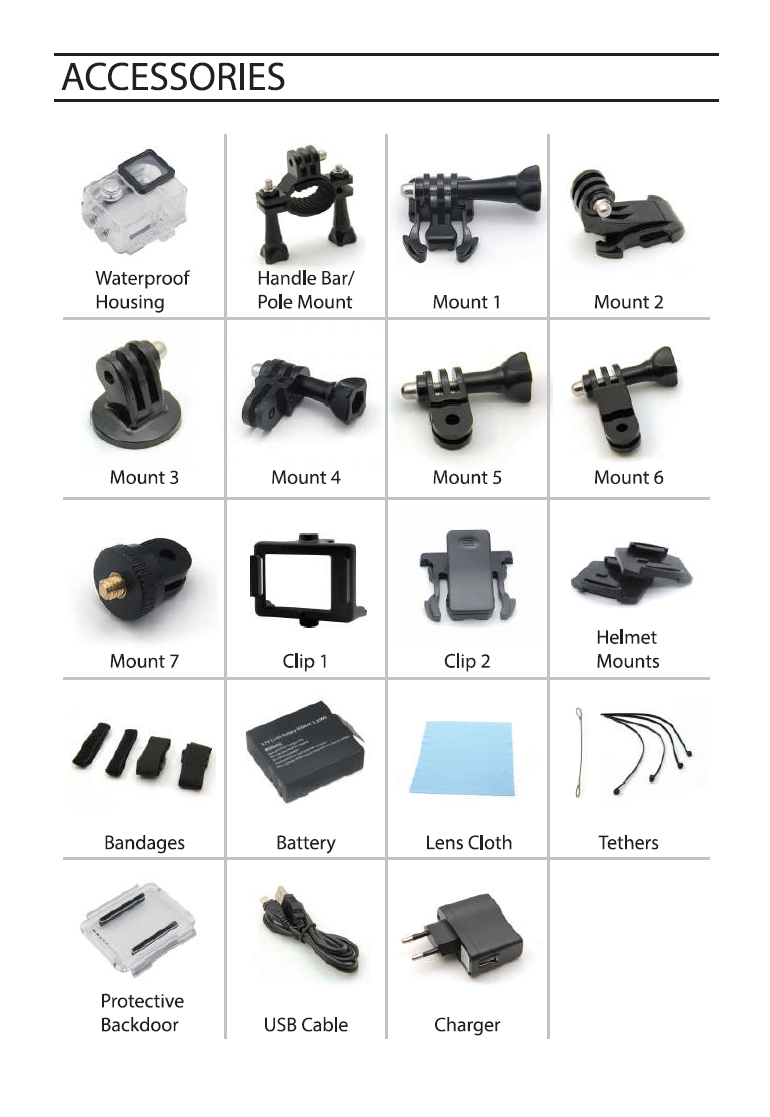 New Arrival!Hot Sale OEM Gopros Accessories Kit Action Sport Camera Accessories Set Horo 4 Session oem action camera