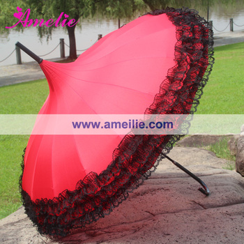 16 Ribs Victorian Pagoda Umbrella with Black Lace