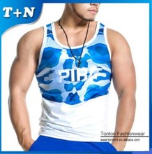 Wholesale Tank Top Wear Fitness Custom Print Your Logo Sublimation Gym Singlet For Men