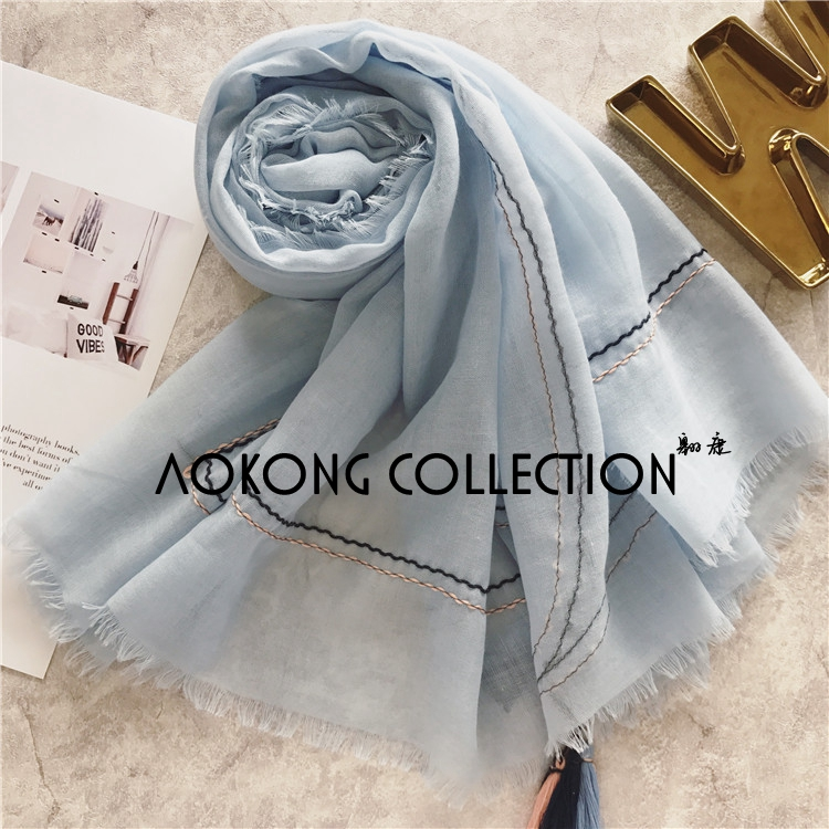 New coming women frayed solid plain tassel scarf