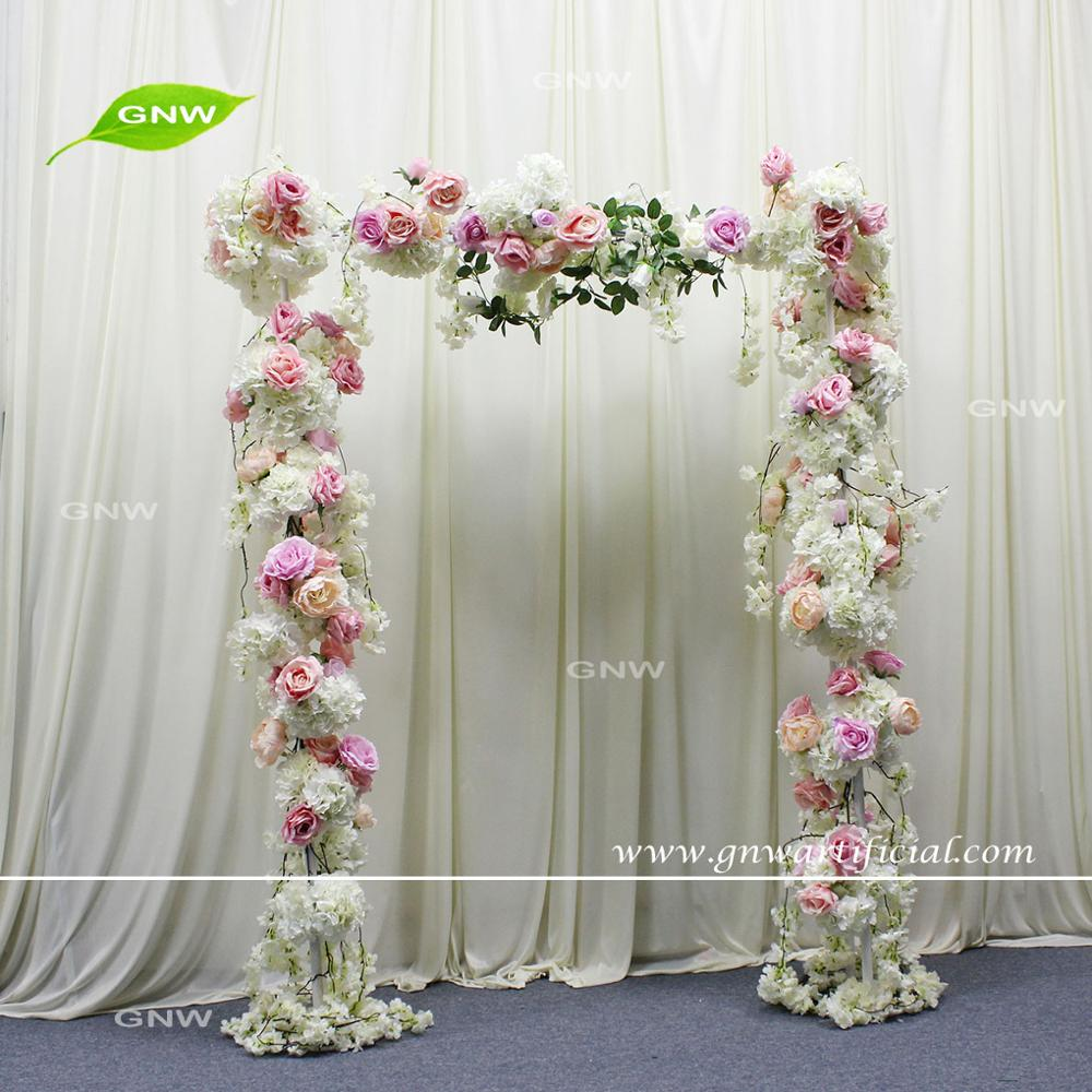 GNW FLWA170903-001 Pink color customized artificial flower wedding arch arrangement