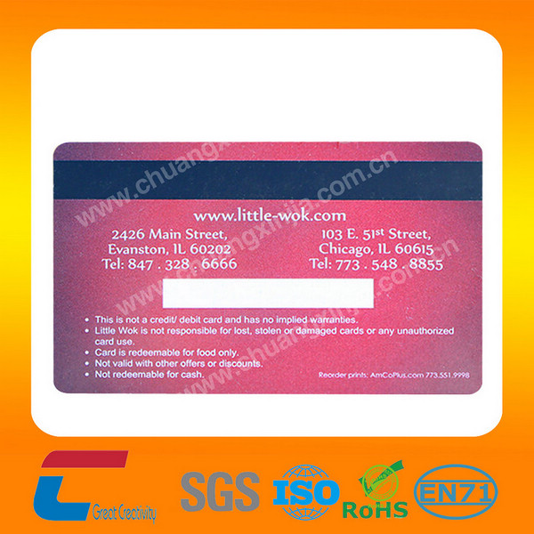 Standard size pvc business card with embossed number and magnetic card